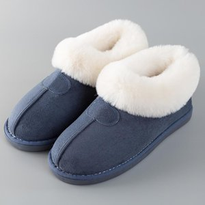Women's Fluffy Winter fur sliders house slippers for women Big size 14 warm non-slip Couple soft plush home shoesZ1127