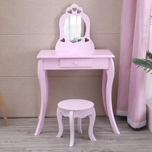 Waco Çocuklar Vanity Set, Prenses Soyunma Masa Seti, Küçük Kızlar Makyaj Vanity Masa W / Çekmece ve Sandalye Seti, Pretend Güzellik Makyaj Oyna Seti