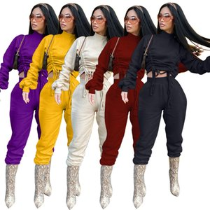Women Tracksuit Two Pieces Set Solid Colour Lantern Sleeve Drawstring Long Sleeves Sweater Pants Sports Suits Autumn Winter New J223