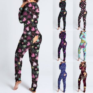 Women Jumpsuit Designer 2021 New Slim Sexy Valentine's Day Love Pattern Letters Printed Home One Piece Pants Ladies Fashion Rompers