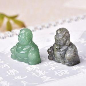 1 unid piedra natural tallado Maitreya Buda Fengshui Estatua de cristal Artesanía para la decoración del hogar Chakra Healing Reiki Qua Jllnua