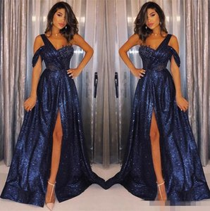 2021 Navy Blue Sequins Prom Dresses One Shoulder Strap Custom Made Side Slit Floor Length Plus Size Sparkly Formal Evening Party Gowns