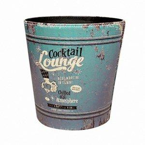 HIPSTEEN Europea estilo retro PU Papelera cesta de papel Bote de basura Cubo de basura cubo de basura sin tapa 5SB4 #