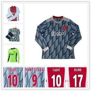 2020 2021 AJAX Ziyech Tadic manches longues Mens Soccer maillots de football Neres de Ligt Dolberg Red Away Football Shirts Nouveaux Uniformes de Huntelaar de Jong