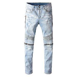 Bianco da uomo Bandanna Paisley stampato Patchwork Biker Jeans Streetwear Zippers Stretch Denim Skinny Pants