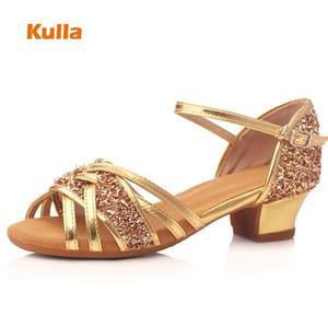 الذهب اللاتينية الصلصا الرقص أحذية أطفال بريق لينة أحذية الرقص الوحيد الفتيات منخفضة الكعب 3.5 سنتيمتر في الهواء الطلق النساء الجاز الرقص أحذية بالجملة 201017