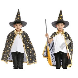 Halloween Cloak for Kids Stars Printed Hat Cape Magic Witch Cosplay Sets Costumes
