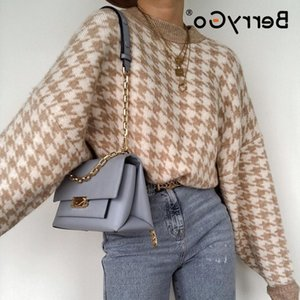 BerryGo geometric khaki knitted women casual Houndstooth lady pullover sweater female Autumn winter retro jumper