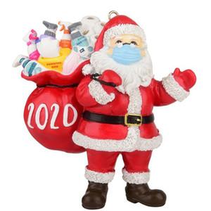 2020 ornamento de reyes superviviente de resina de Santa Claus Decoración de la Navidad muñeco de nieve decoración del partido de la máscara de regalo de Navidad Llavero