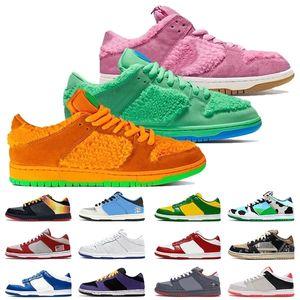 Hot qualità Dunks Basso Rosa Verde Giallo Bears Donne Moda Uomo Scarpe Sashiko Chunky Dunky scarpe da corsa Skate formatori Sneakers Off