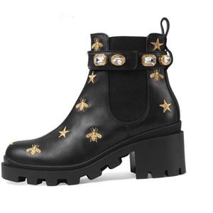 Martin botları% 100 sığır derisi kadın ayakkabı Klasik Arı Yüksek topuklar Deri Yüksek çizmeler Moda Diamonds topuklu Lady kısa botlar Büyük boy 35-41-42