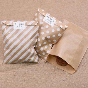 25 50Pcs Kraft Paper Gift Bags Wave Stripe Dot Candy Cookie Bags Packing Pouch Wedding Festival Party Wrapping Supplies