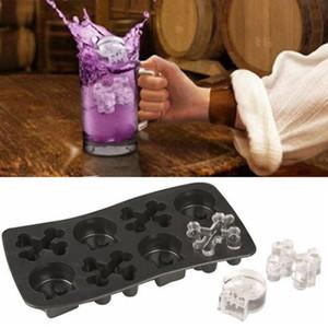 Esqueleto Bandeja de hielo 8 Agujeros de silicona Skull Ice Cube Moldes Party Halloween Herror Chocolate Helado Helado Beber DIY Suministros VT1514