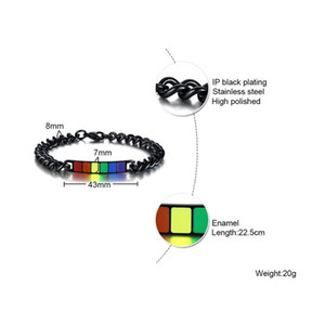 FXM DE9 winter arrival fashion jewelry for women birthday gift rose many heart metal color Rainbow titanium steel men's Bracelet