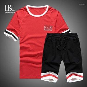 Chándal de los hombres Camisetas para hombre + Shorts Set Summer Men Manga corta Tops Tops Tops Traje Sportswear Ropa Conjuntos Masculinos Trajes 1