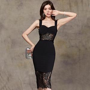 HAYBLST Marca vestido de la mujer atractiva del verano 2020 vestidos para las mujeres Condole Ropa plussize estilo delgado coreano de ropa de encaje negro