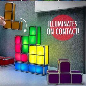 تتريس تكويم ليلة الخفيفة الألغاز 3D ضوء 7 ألوان السحر كتل التعريفي المتشابكة LED الجدة مكتب مصباح هدية الطفل