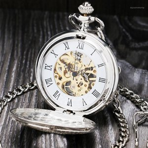 빈티지 실버 로마 번호 기계 포켓 시계 더블 오픈 케이스 FOB 시계 P803C1