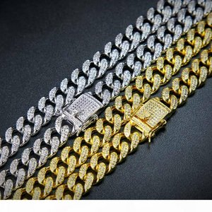 """High Quality Full Copper With Diamond MIAMI CUBAN LINK Chian Necklace Hip Hop ICED OUT Bling Jewelry For Men Curb Accessories 20"""" 24&qu"""