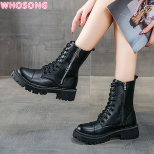 2020 winter Lace-up non-slip round toe low-heel short boots solid color lace-up eight-hole Martin boots black for woman