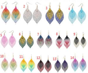 2020 Hot style double leaf tassel earrings simple retro color metal leaf earrings pendant jewelry 10pcs lot Epacket Delivery.