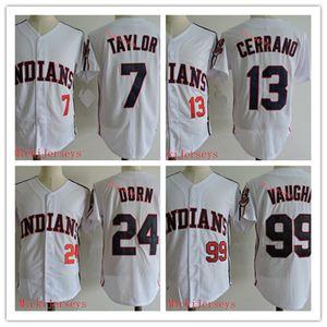 Mens stitched # 99 Rick Vaughn Jersey White # 13 Pedro Cerrano # 7 Jake Taylor # 24 Roger Dorn Film Baseball Jersey S-3XL
