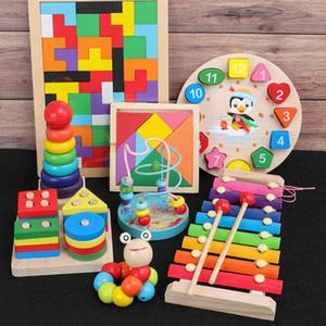 QWZ Montessori Juguetes Aprender Niñez niños de los niños del bebé bloques de madera coloridos Ilustración juguetes educativos C1016
