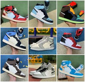 Le haut de chaussures de basket-ball hommes og Obsidian UNC à Chicago Pine Turbo vert Travis Scotts Bloodline 1 hommes Jumpman femmes sport espadrille 47