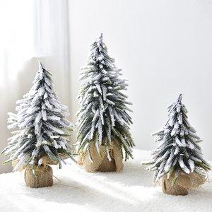 Small Mini Christmas Tree Burlap Flocking Snow Scene Arrangement Christmas Decorations Desktop Decoration Home artificial trees