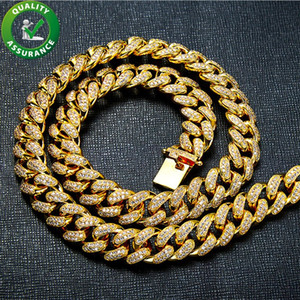 Gold Necklace Hip Hop Mens Jewelry Bling Diamond Cuban Link Iced Out Chains Luxury Designer Cubic Zirconia Chain Rapper Fashion Accessories