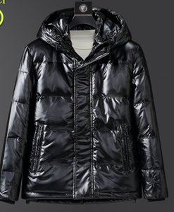 Down jacket 2020 new men's fashion brand mid-length shiny hooded thick warm white duck down handsome jacket for men