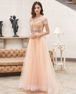 LYRASUE A lLine Champagne Lace And Shinning Handle Beading Zipper Back Chiffon Jewel Formal Evening Dresses Prom Dresses LY102701