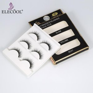 ELECOOL 3 Pairs 100% Real Thick Long Natural False Eyelashes 3D Women Lady Makeup Eye Lashes Makeup Tools