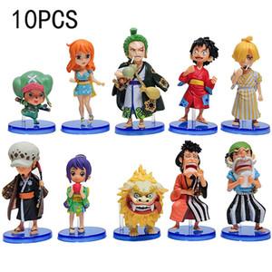 10 шт. One Piece Figure Luffy Figurine Zoro Nami Usopp Sanji Chopper Robin PVC Действие Рисунок Franky Brook Модель Игрушечный подарок для детей 201202