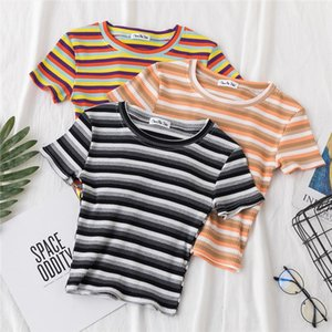 summer graphic tees women ulzzang short sleeve t shirt korean kawaii Rainbow stripes t shirts harajuku Casual O neck crop top