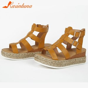 KARIN Retro Lady Summer Gladiator Sandals Casual Beach Sandals Women Open Toe Ankle Strap Wedges Solid Shoes Woman