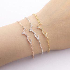 Luxury Zircon Chain Charm Bracelets Bangles For Women Jewelry Engagement Party Christmas Gift