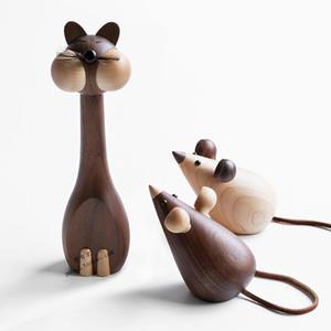 Kedi ve Fare Ahşap El Sanatları için Kedi Figürinler Çocuk Odası Dekoratif Figürinler Ev Danışma Aksesuar için Süsler Şirin Şeyler