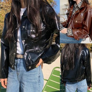 Womail leather jacket women big size 2020 Autumn winter Fashion Solid Long sleeves Outerwear Ladies Pockets Button Coat