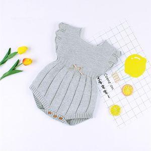 Трикотажная одежда зимнее летнее урезание рукава хлопок новорожденных Rompers младенческий ребёнок девочка ромпер комбинезон Y200320
