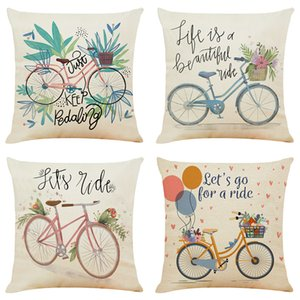 Creative Bike Linen Cushion Covers Home Office Sofa Square Pillow Case Decorative Pillow Covers Without Insert (18*18Inch)