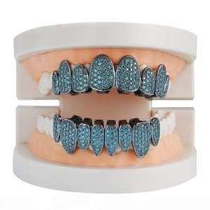 Irregular Cubic Zirconia Colorful Grills Set Silver Gold Color Teeth Grills Hiphop Halloween Iced Out Top&Bottom Dental Grills Body Jewelry