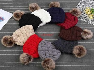 Kids PomPom Beanies Baby Knitted Winter Warm Hats Thick Stretchy Knit Beanie Cap Bobble Beanie Hats 9 Colors1