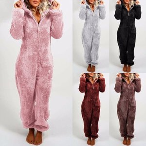 Women Thickened Plush Jumpsuit 2021 New Womens Rompers Women Solid Color Warm Hooded Pajamas Women Soft Wear Pajamas