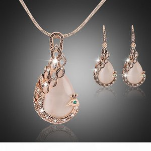 Women ladies peacock crystal rhinestone pendant necklace drop earring set fashion waterdrop jewelry set gift for love