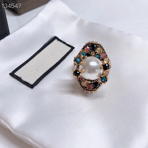 Vintage Copper With 18k Gold Plated Colorful Crystal Big White Pearl Flower Pendant Open Ring For Women Jewelry