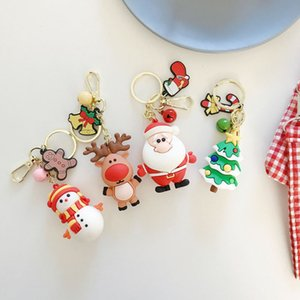 Creative Christmas Ornament Keychain Cute Car Key Chain Cartoon Mobile Pendant Santa Snowman Elk Christmas Gift