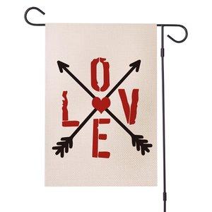 Letras Bandeira do Jardim Double Impressão dobro Padrão Padrão Festival Bandeira Bandeira da Decoração do Dia de Valentim 9hy E1