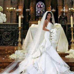 2021 Mermaid Wedding Dresses Spaghetti Straps Sweep Train Long Bridal Gowns Custom Made Tiered Ruffles Wedding Dress Plus Size