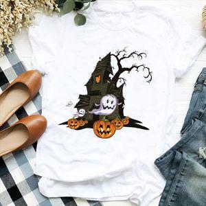 Women Lady Pumpkin Face Scary 90s Thanksgiving Halloween Print Tshirt Shirt Clothes Top Graphic Female T Tee Womens T shirt